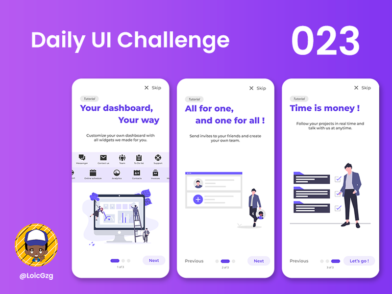 Daily UI Challenge 23 - Onboarding illustrator figma ui timeline widget teams dashboard project undraw purple smartphone app mobile app mobile onboarding onboarding ui challenge daily ui challenge daily ui