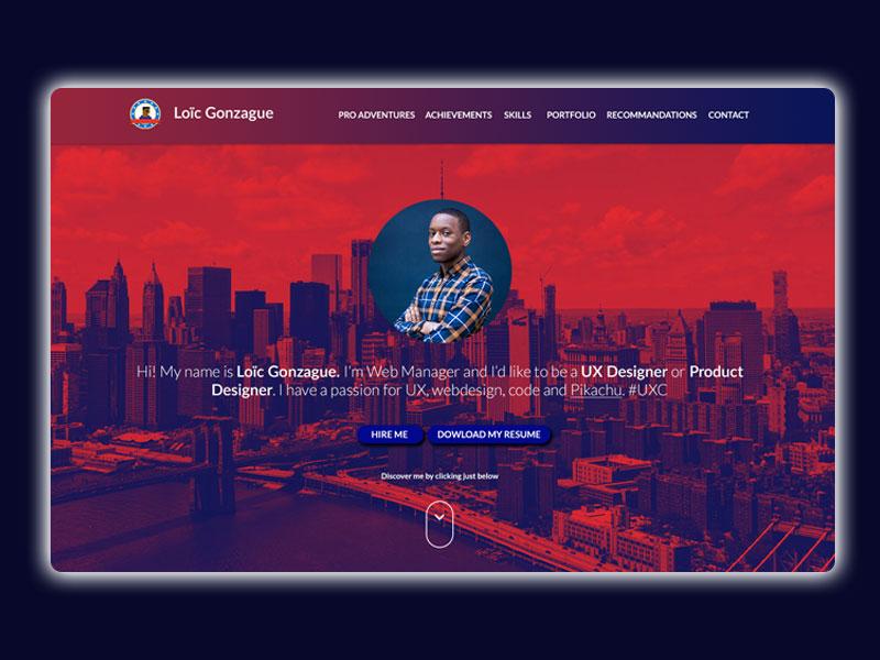 New Resume and Portfolio Website hiring cv jquery css html red blue gradient responsive resume portfolio website