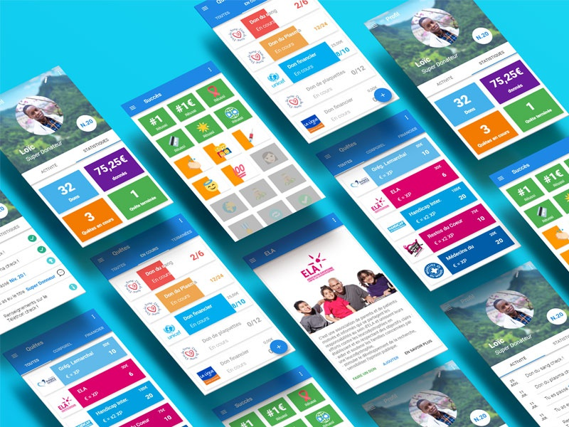 Screens for a donation app material design ui past projects ux organization donation war screens blue donate donation mobile app