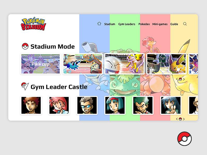 Pokemon Stadium Website pikachu pokeball adobe xd prototype retrogaming homepage website games stadium video games pokemon