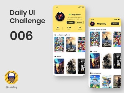 Daily UI Challenge 006 - User profile tahoma yellow videos games community gamers game user profile page profile user challenge daily ui