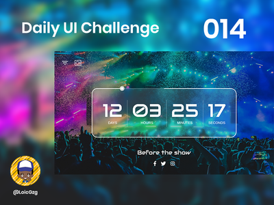 Daily UI Challenge 014 - Countdown hours days arimo audiowide audience concert music dj show countdown challenge daily ui
