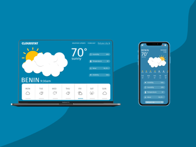 Weather Project iphone macbook landing page clouds adobe illustrations figma ux weather ui