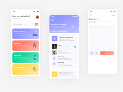Self improvement app app design interaction design webanimation landing page design landingpage website concept website design meditation app appdesign ios app design interaction branding uidesignpatterns typography ios android app ux dailyui ui design