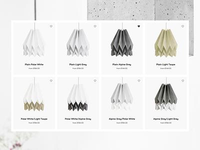 Lamp store minimalistic grey light concrete clean lamp ecommerce store