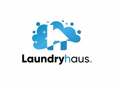 Laundryhaus flat minimal logo design branding