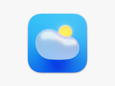Bubbly Weather Icon ui 3d clouds blue light sun ios weather app app weather cloud icon big sur