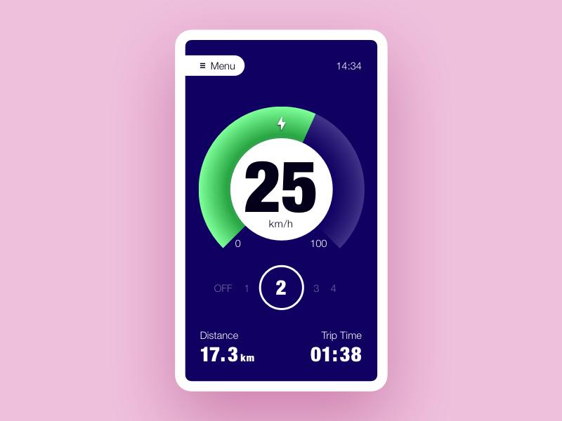 eBike app concept android ios gauge speed app ebike ui ux