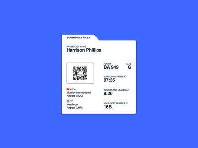 Simple Boarding Pass travel ticket airlines airplane boardingpass uidesign