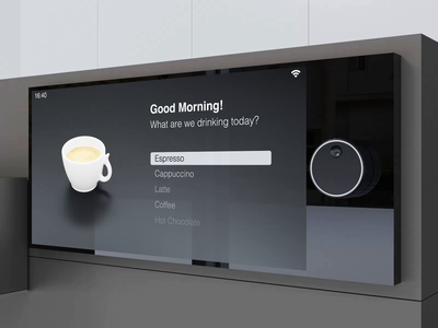 Display UI lucas haas iot coffee machine coffee 3d animation interface ux ui