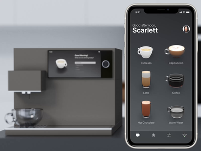 Smartphone Integration interface coffee machine iot interaction animation ios lucas haas ux ui