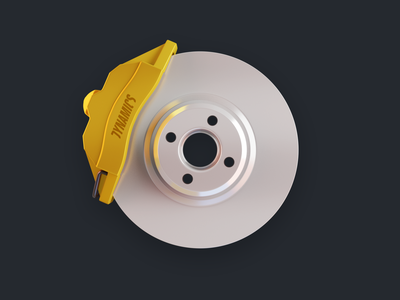Disc Brake Icon illustration lucas haas blender3d 3d ui app icon vehicle car abs caliper brake disc