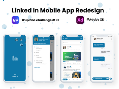 Linked In Mobile App Redesign - Uplabs Challenge 01 ui kit android design iosdesign android ios linked mobile ui linkedin adobe xd uxui uxdesign ux uidesign uiux challenges ui challenge uplabs