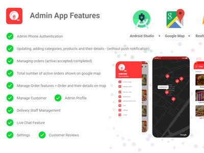 Online Food Delivery Android App - Admin App Module For Purchase online food food app live chat feature app development services google map realtime database firebase android app development company android app development android app android food management app management app