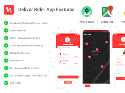 Online Food Delivery Android App - Delivery Rider For Purchase buy food app purchase delivery rider app food delivery app android apps android design android development android app development android app design android app