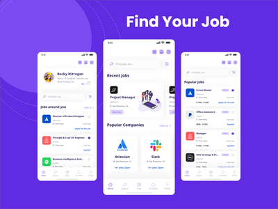 Find Recent Jobs iOS UI Kits android ui kit ios ui kit job application popular jobs recent jobs find jobs job finder mobile ui ui ui ux design uiux adobe xd