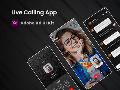 Live Video Call Mobile App UI Kit chat app voice call app audio calling adobe xd video calling app whatsapp messanger app skype live calling app android ui uidesign ios ui mobile ui kit mobile ui ui design ux uiux ui