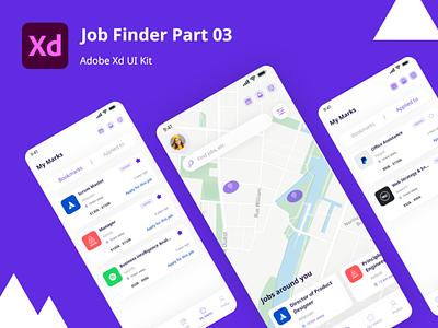 My Applied Jobs UI Kit online jobs jobs find design mobile app job application job uxdesign ux uidesign uiux kit8 ui kit mobile ui ios mobile android kit ui adobe xd