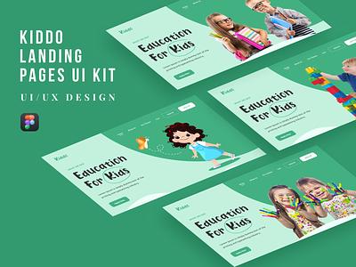 Kiddo Landing Pages UI Kit kiddo babies website baby kids education kids freelancing projects landing page website 2021 design ui trend 2021 new ui trend ux design ui design ux ui uiux