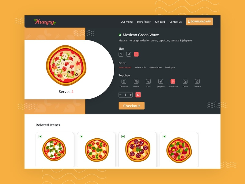 Hungry pizza branding vintage 2020 trend delivery checkout pizza order product design webdesign website vegetables pizza food delicious illustration ui  ux debutshot adobe xd dribbble shot