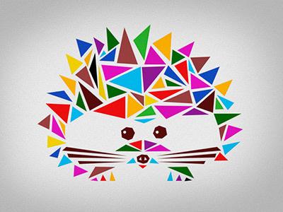 Hedgehog hedgehog triangles cubism color animal hérisson spiked cute shapes