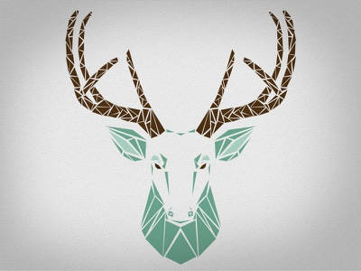 Stag stag animal shape green brown triangle cerf christmas poly polygon