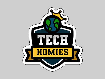 Logo Tech Homies logo world tech planet crown shield security work it friends buddy bro travel telework communication link together internet wire