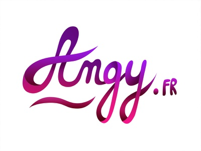 Angy.fr typography lettering angy design identity calligraphy pink mauve purple