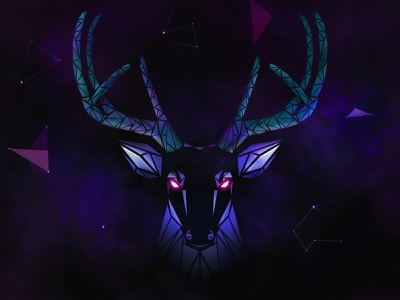 Qlimax Stag 2.0 game gamechanger mystical space deep pink bleu purple shapes galaxy stars dark stag hardstyle qlimax