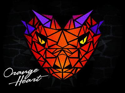 Orange Heart hardstyle heart dragon design shapes orange triangle