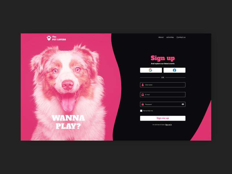 DailyUI - Day 1 - Sign up formui signupform facebook google uidesign blackletter pink dog pet signin signup daily ui 001 dailyui