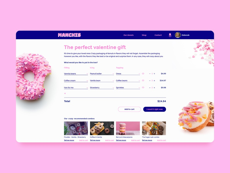 Donut shop ui design food gift valentine manchis hearts table ui total filter blue pink dailyui shop ui sonuts shop donuts