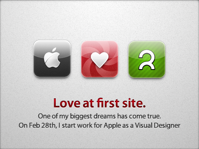 Love at first site. logo apple announcement love at first site