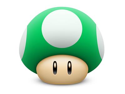 1-UP Mushroom photoshop mushroom 1-up mario powerup icon