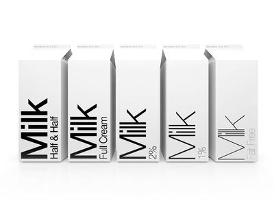 Minimalist Typographic Milk Cartons typography helvetica milk modo 3d