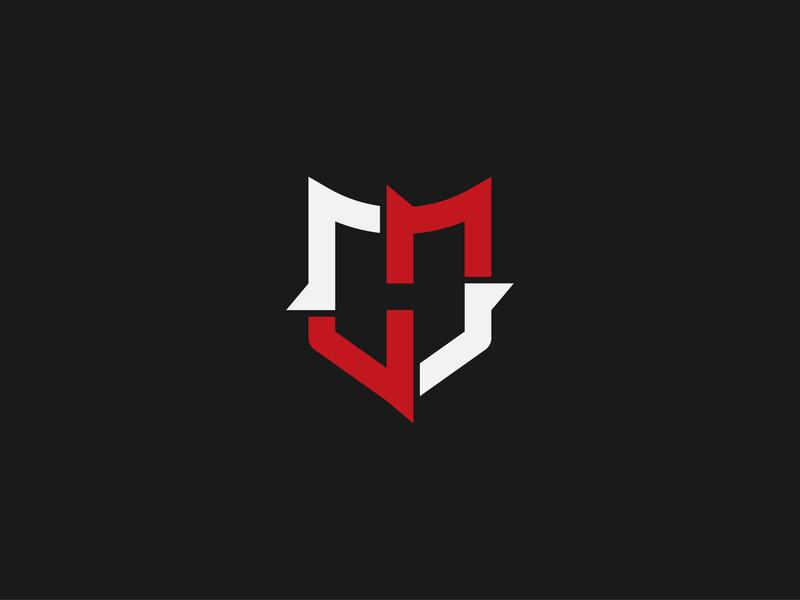 """H+S+Shield"" Monogram design icon branding negativespace typography flat security shield hs monogram logo"
