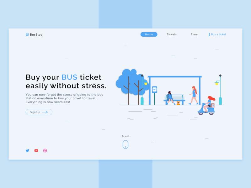 BusStop user inteface color animation website web ui ux illustration design branding