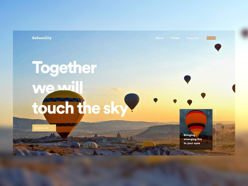 Balloon city - A landing page adobexd illustrator photoshop typography minimal lettering clean user inteface color website web ux ui design
