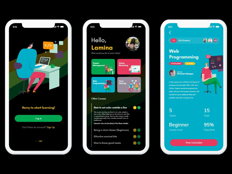 Learnovate: More screens mockup education mobile app illustrations spacing color typography ux ui