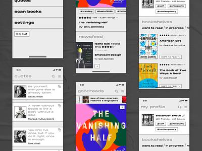 Goodreads Redesign Concept quotes minimalist minimal redesign monochromatic socialist books reading read goodreads edgy gray brutalist design brutalism ui dark