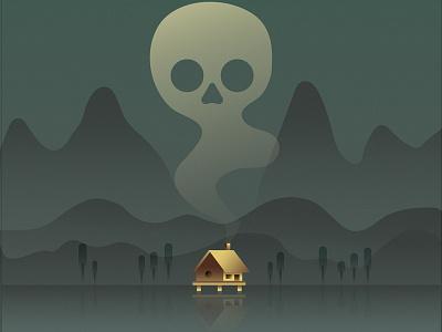 Swamp reflection dark landscape poster illustration swamp