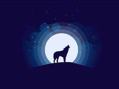 Moonlight Silhouette illustration wolf landscape moonlight night dark silhouette