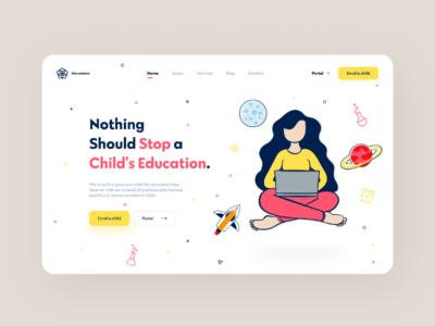 Education header landing page web web design ux ui academy school