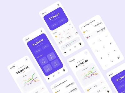 Concept - Crypto App (Light Theme) uxdesignmastery uidesign design app calculator mobile app design mobile app cryptocurrency crypto wallet dark theme dark app ux ui