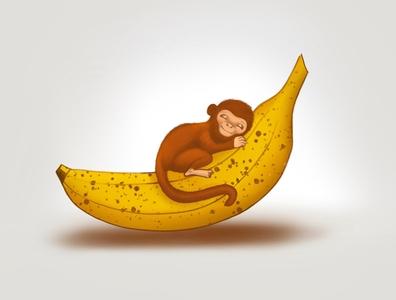 Little cute monkey on it's banana-bed