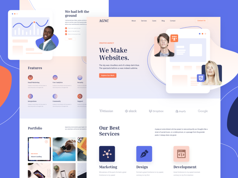 Agency Responsive Landing Page template design responsive page landing xd sketch figma ux ui agency