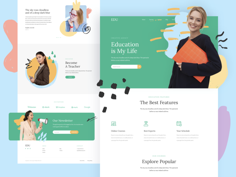 Education Responsive Landing Page template design responsive page landing xd sketch figma ux ui education