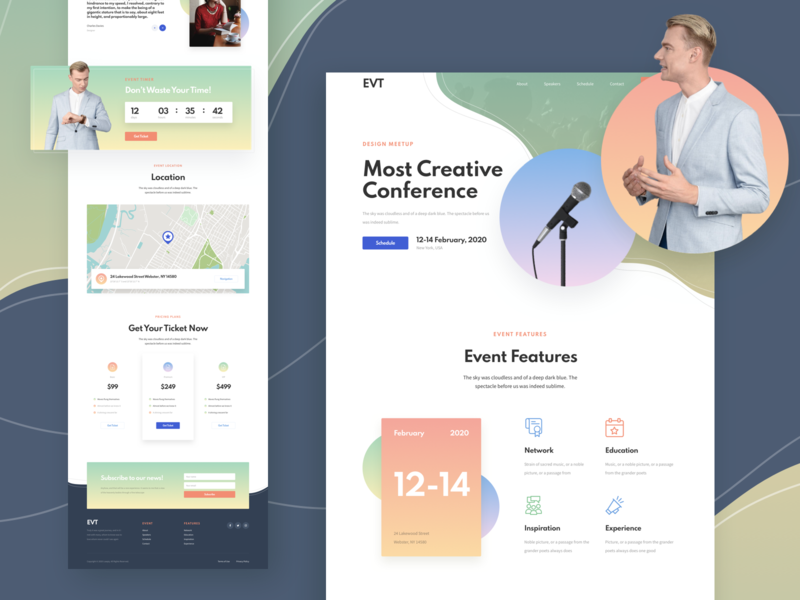 Event Responsive Landing Page template responsive page landing xd sketch figma ux ui conference event