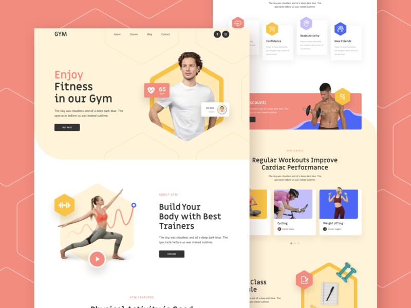 Gym Responsive Landing Page template responsive page landing xd sketch figma ux ui fitness gym