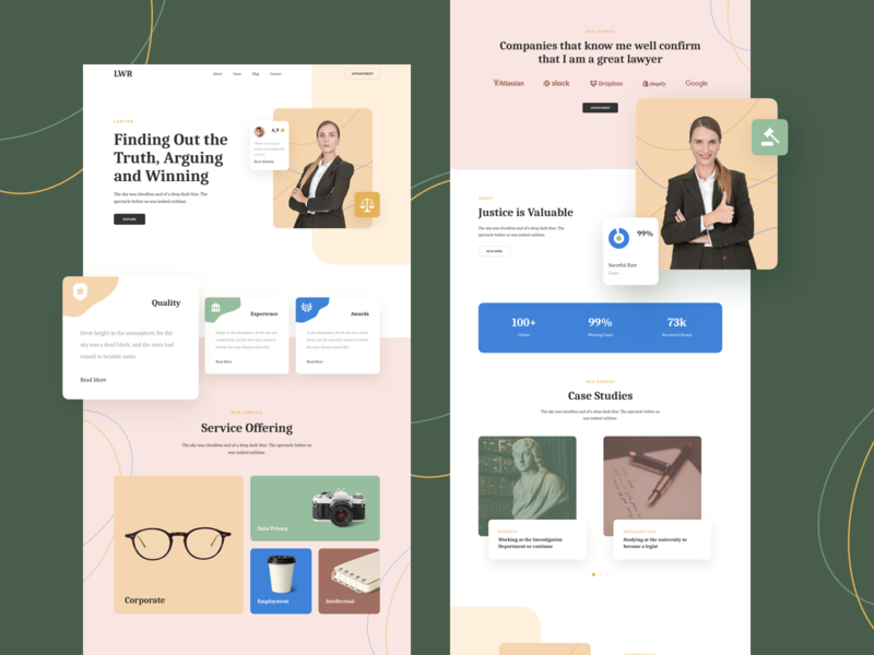 Lawyer Responsive Landing Page template design responsive page landing xd sketch figma ux ui personal lawyer